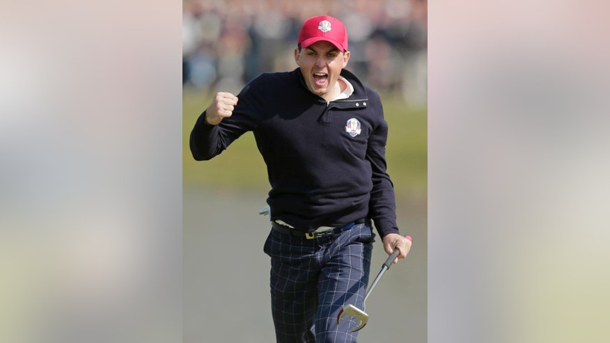 FILE - In this Sept. 28, 2012, file photo, USA's Keegan Bradley celebrates after winning their foursomes match on the 15th hole at the Ryder Cup PGA golf tournament at the Medinah Country Club in Medinah, Ill. Ryder Cup captain Tom Watson announces his wild-card selections for the American team, Tuesday, Sept. 2, 2014, with Keegan Bradley, Hunter Mahan, Webb Simpson and Chris Kirk among the favorites. (AP Photo/Charlie Riedel, File)