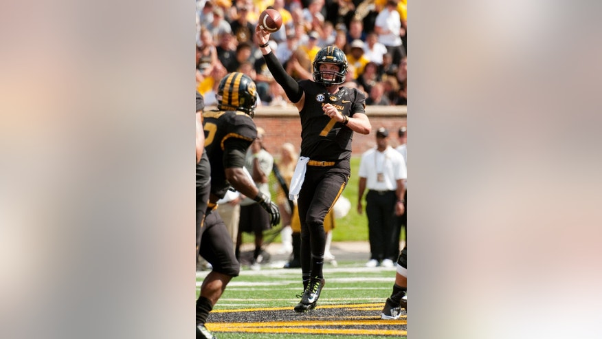 Missouri quarterback Maty Mauk throws a pass during the second quarter of an NCAA college football game against South Dakota State Saturday, Aug. 30, 2014, in Columbia, Mo. Missouri won the game 38-18. (AP Photo/L.G. Patterson)