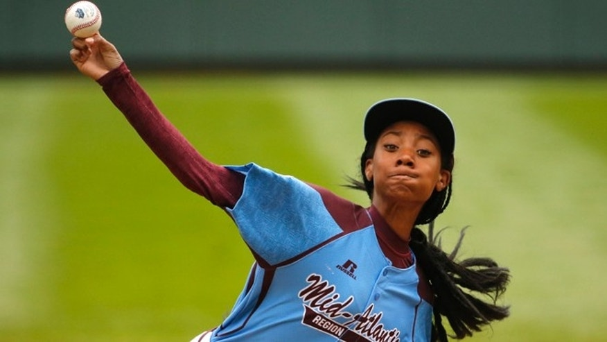 Aug. 15, 2014: In this file photo, Pennsylvania's Mo'ne Davis delivers in the first inning against Tennessee during a baseball game in United States pool play at the Little League World Series tournament in South Williamsport, Pa.