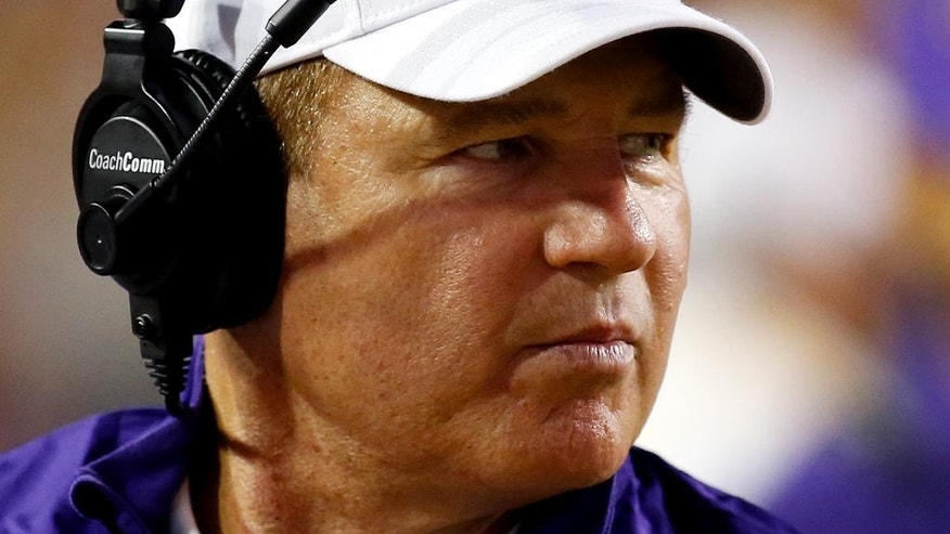 LSU head coach Les Miles reacts during the first half of an NCAA college football game against Sam Houston State in Baton Rouge, La., Saturday, September 6, 2014. (AP Photo/Jonathan Bachman)