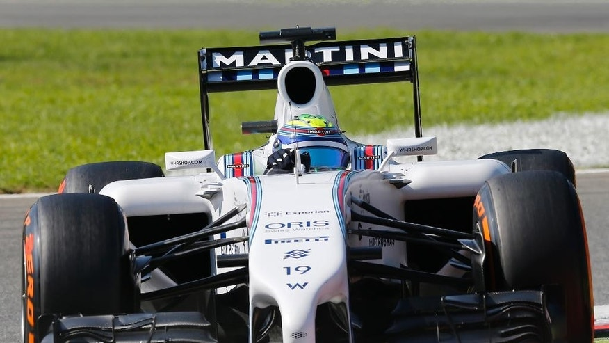 Brazil driver Felipe Massa steers his Williams during the third free practice session at the Monza racetrack, in Monza, Italy, Saturday, Sept. 6, 2014. The Formula One race will be held on Sunday. (AP Photo/Antonio Calanni)