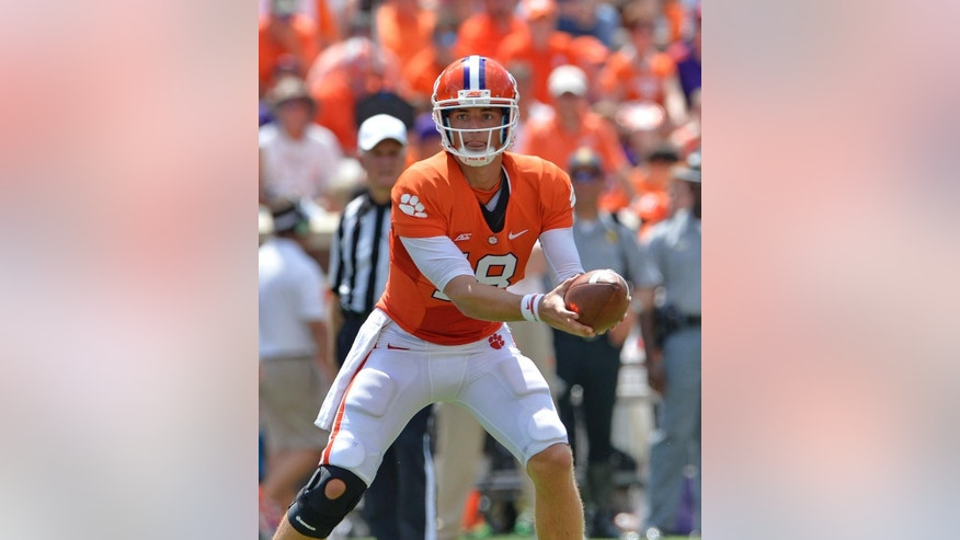 FILE - In this Sept. 6, 2014, file photo, Clemson senior starting quarterback Cole Stoudt takes the snap during an NCAA college football game against South Carolina State in Clemson, S.C. Fans believe freshman backup Dashaun Watson is No. 23 Clemson's best chance at defeating No. 1 Florida State in two weeks.  (AP Photo/ Richard Shiro, File)