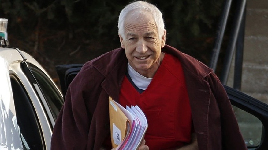 Jan. 10, 2013: Former Penn State assistant football coach Jerry Sandusky arrives at the Centre County Courthouse for a post-sentencing hearing in Bellefonte, Pa.