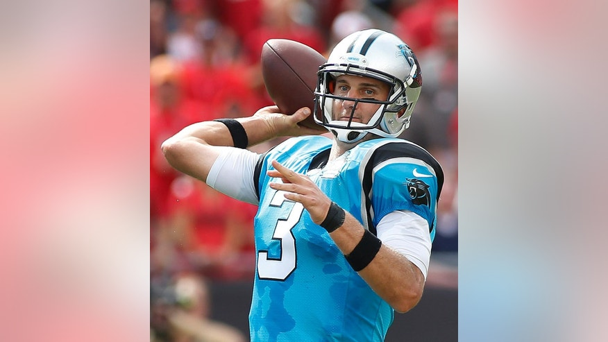 Carolina Panthers quarterback Derek Anderson throws a pass against the Tampa Bay Buccaneers during the first quarter of an NFL football game Sunday, Sept. 7, 2014, in Tampa, Fla. (AP Photo/Brian Blanco)