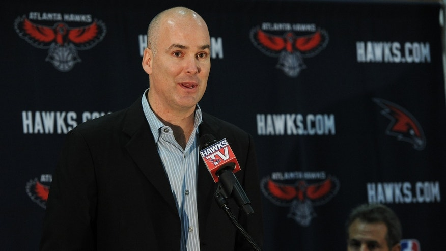 June 25, 2012: Atlanta Hawks president of operations and general manager Danny Ferry speaks during a news conference in Atlanta, as team co-owner Bruce Levenson, right, looks on. (AP/The Atlanta Journal-Constitution, Johnny Crawford)