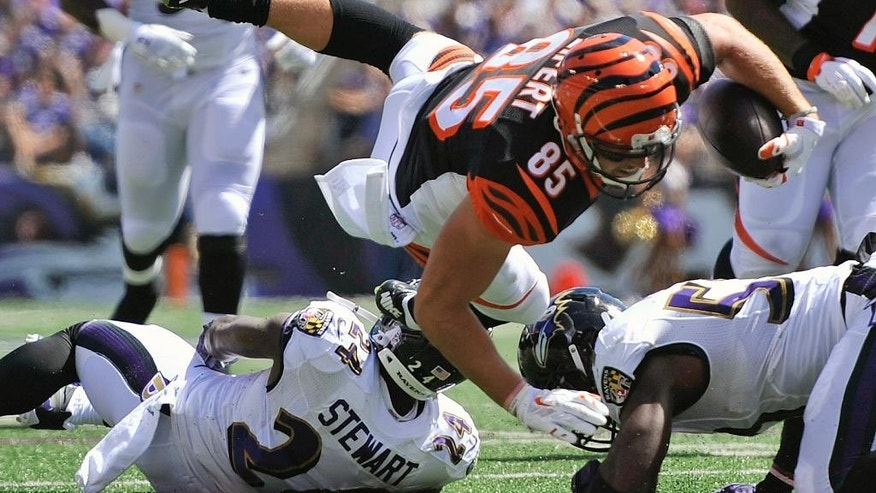 Cincinnati Bengals tight end Tyler Eifert (85) leaps over Baltimore Ravens strong safety Darian Stewart (24) and outside linebacker Terrell Suggs (55) during the first half of an NFL football game in Baltimore, Md., Sunday, Sept. 7, 2014. (AP Photo/Gail Burton)