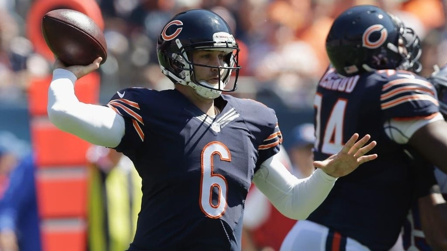 Chicago Bears quarterback Jay Cutler (6) throws a pass during the first half of an NFL football game against the Buffalo Bills on Sunday, Sept. 7, 2014, in Chicago. (AP Photo/Nam Y. Huh)