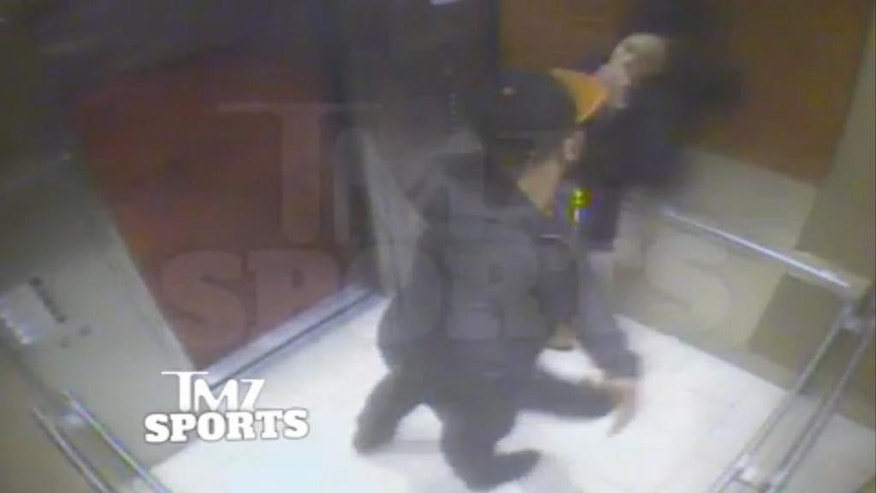 "FILE - In this February 2014 file photo from a still image taken from a hotel security video released by TMZ Sports, Baltimore Ravens running back Ray Rice punches his fiancee, Janay Palmer, in an elevator at the Revel casino in Atlantic City, N.J. A law enforcement official says he sent a video of Ray Rice punching his then-fiancee to an NFL executive five months ago, while league officers have insisted they didn't see the violent images until this week.  The person played The Associated Press a 12-second voicemail from an NFL office number on April 9 confirming the video arrived. A female voice expresses thanks and says: ""You're right. It's terrible."" (AP Photo/File)"