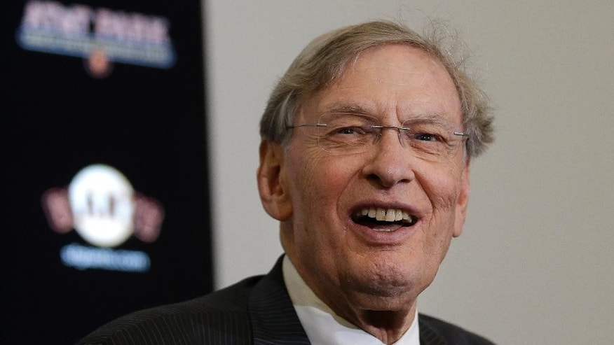Major League Baseball commissioner Bud Selig smiles while speaking at a news conference before a baseball game between the San Francisco Giants and the Arizona Diamondbacks in San Francisco, Thursday, Sept. 11, 2014. (AP Photo/Jeff Chiu)