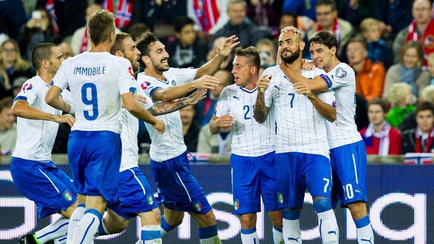Italy's Simone Zaza, second righ, celebrates scoring against Norway with teammates during their Euro 2016 qualifying match  at Ullevaal Stadium in Oslo, Tuesday Sept. 9, 2014. (AP Photo/Vegard Wivestad Grott, NTB Scanpix) NORWAY OUT
