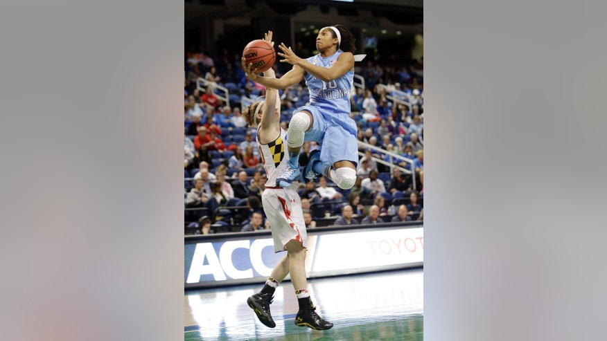 FILE - In this March 7, 2014, file phoo, North Carolina's Danielle Butts (10) drives past Maryland's Katie Rutan during the first half of an NCAA college basketball game at the Atlantic Coast Conference tournament in Greensboro, N.C. (AP Photo/Chuck Burton, File)