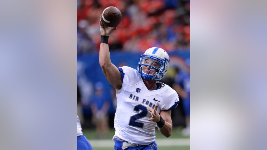 Air Force's Kale Pearson throws the football against Georgia State during the first half of an NCAA college football game in Atlanta, on Saturday, Sept. 13. 2014. (AP Photo/Johnny Crawford)