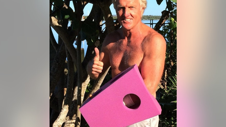 This photo provided by Greg Norman and posted on Instagram on Sunday, Sept. 14, 2014,  shows Norman giving the thumbs up with his left hand  protected by a purple foam after a chainsaw accident.  The Hall of Fame golfer and entrepreneur, was cutting back trees in his South Florida home when the weight of a branch pulled his left hand toward the chain saw. He said the blade hit him just below where a person would be wearing a wrist watch. He said doctors told him it missed his artery by a fraction of an inch. (AP Photo/Courtesy of Greg Norman) NO SALES