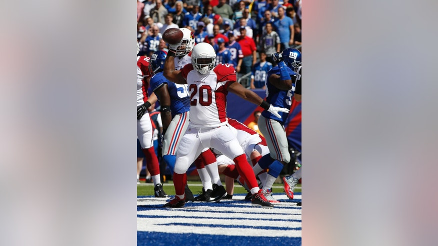 Arizona Cardinals running back Jonathan Dwyer (20) celebrates after scoring a touchdown during the first half of an NFL football game against the New York Giants on Sunday, Sept. 14, 2014, in East Rutherford, N.J.  (AP Photo/Kathy Willens)