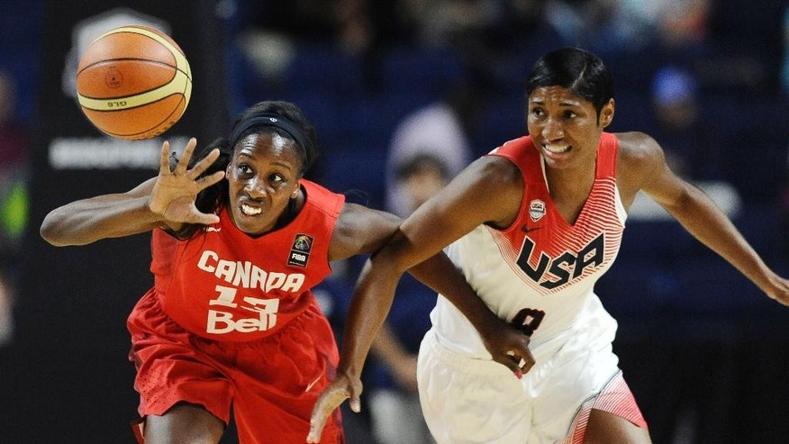 Canada's Tamara Tatham, left, and USA's Angel McCoughtry, right, battle for a loose ball during the first half of an women's exhibition basketball game, Monday, Sept. 15, 2014, in Bridgeport, Conn. (AP Photo/Jessica Hill)