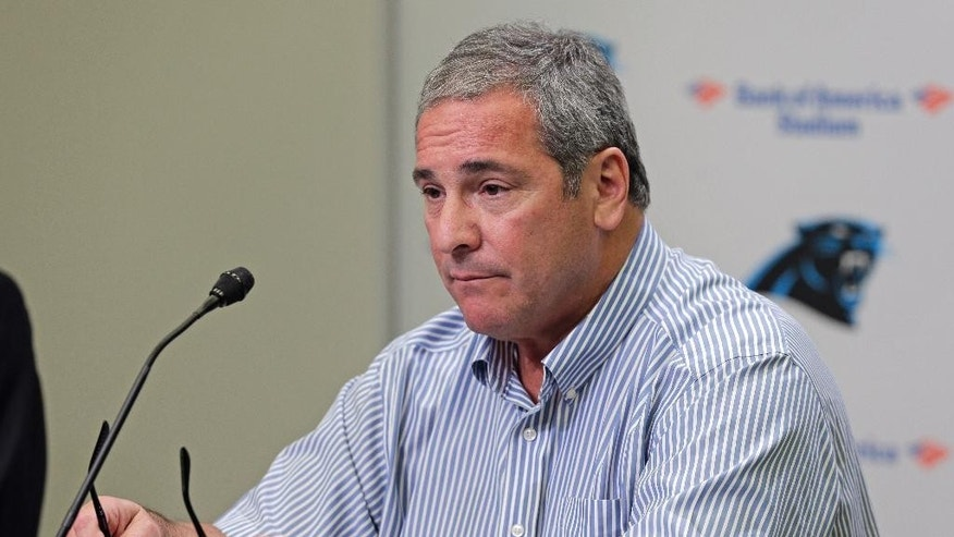 Carolina Panthers general manager Dave Gettleman talks to the media about Greg Hardy's situation with the NFL football team during a news conference in Charlotte, N.C., Wednesday, Sept. 17, 2014. The team announced Hardy is taking a voluntary leave of absence with pay and will be placed on the NFL commissioner's exempt list. (AP Photo/Chuck Burton)