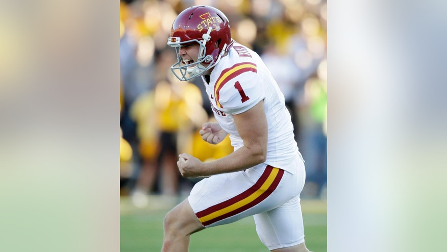 "FILE - In this Sept. 13, 2014, file photo, Iowa State place kicker Cole Netten celebrates after kicking a 42-yard game winning field goal in the closing seconds of the second half of an NCAA college football game against Iowa in Iowa City, Iowa. It was a split-second decision that reignited a time-honored debate. Does icing a kicker actually work? Iowa coach Kirk Ferentz called it a ""50/50"" deal after being burned by it in a loss to Iowa State, and the numbers suggest he's right. (AP Photo/Charlie Neibergall, File)"