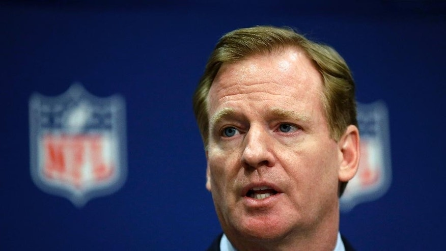 FILE - In this May 20, 2014, file photo, NFL Commissioner Roger Goodell speaks at a news conference at the NFL's spring meeting in Atlanta. Major sponsors including Anheuser-Busch and Visa added to the chorus of disapproval over the National Football League recent actions but are stopping short of pulling advertising, Tuesday, Sept. 16, 2014. (AP Photo/David Goldman, File)