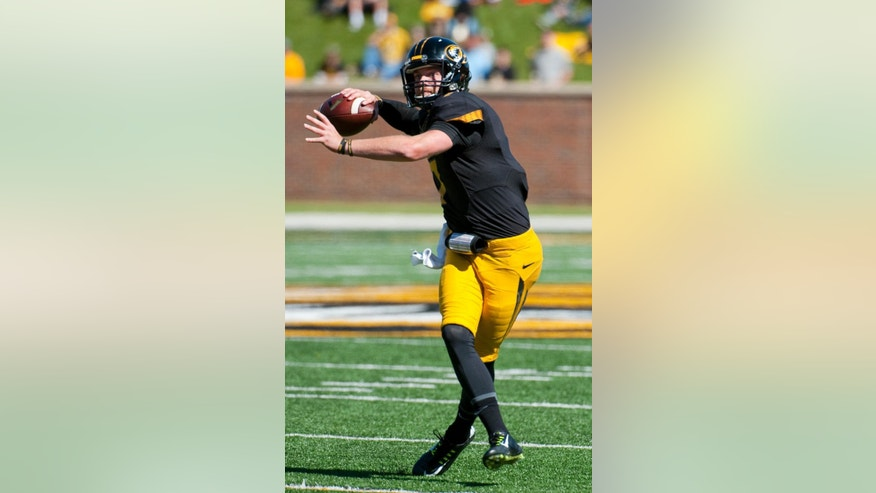 Missouri quarterback Maty Mauk throws a pass during the first quarter of an NCAA college football game against Central Florida Saturday, Sept. 13, 2014, in Columbia, Mo. (AP Photo/L.G. Patterson)