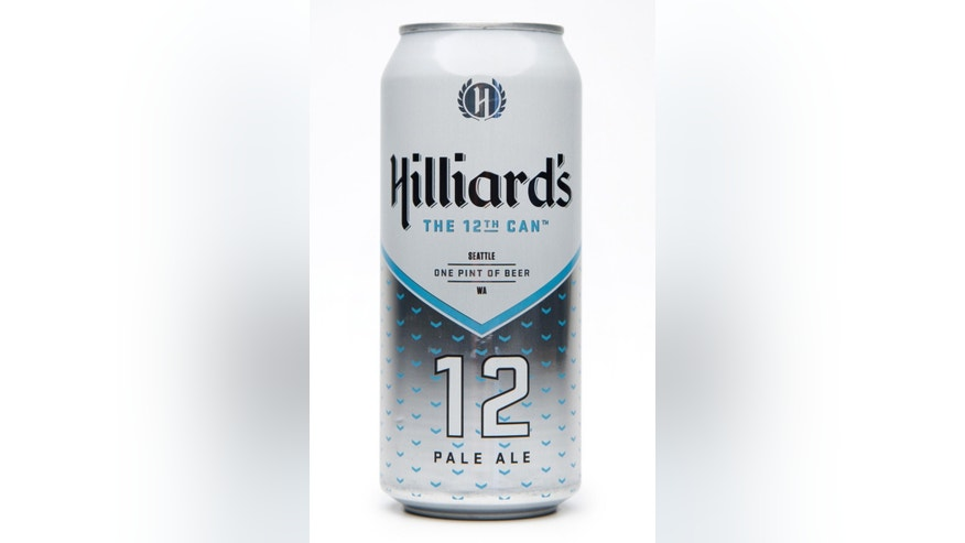 This product image provided by Hilliard's shows a can of their 12th man beer. Businesses through the upper left corner of the country are trying to capitalize the pride of the Seahawks fans. Whether it's getting Russell Wilson to be the pitchman for the local airline, to alcoholic beverages with 12 in the name, companies are finding ways to capitalize on the Super Bowl champs. (AP Photo/Hilliard's)