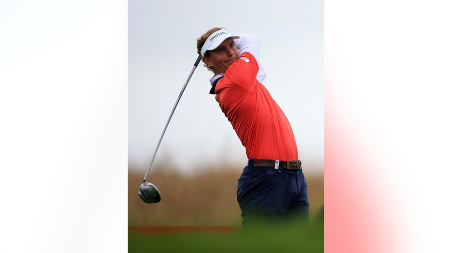 Holland's Joost Luiten  tees off on the 5th during day two of the Wales Open golf tournament  at Celtic Manor, Newport Wales  Friday Sept. 19, 2014. (AP Photo/ Nick Potts/PA) UNITED KINGDOM OUT