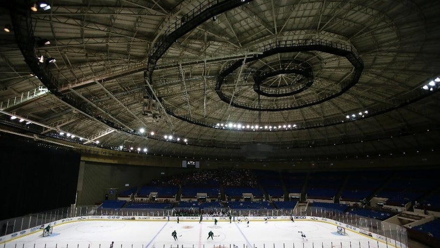 The Dallas Stars participate in an afternoon work out session at the Fort Worth Convention Center Arena on opening day of  NHL hockey training camp, Friday, Sept. 19, 2014, in Fort Worth, Texas. (AP Photo/Tony Gutierrez)