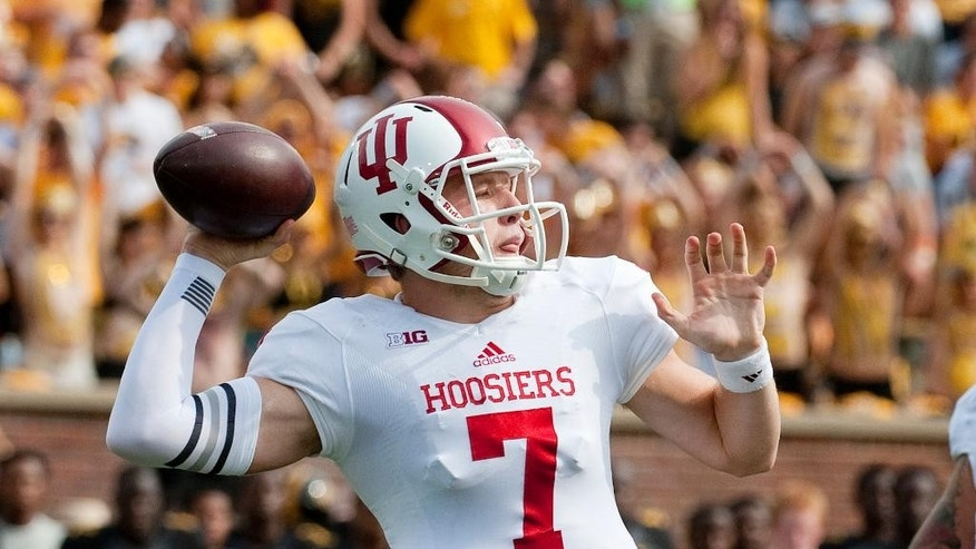 Indiana quarterback Nate Sudfeld throws a pass during the first quarter of an NCAA college football game against Missouri, Saturday, Sept. 20, 2014, in Columbia, Mo. (AP Photo/L.G. Patterson)