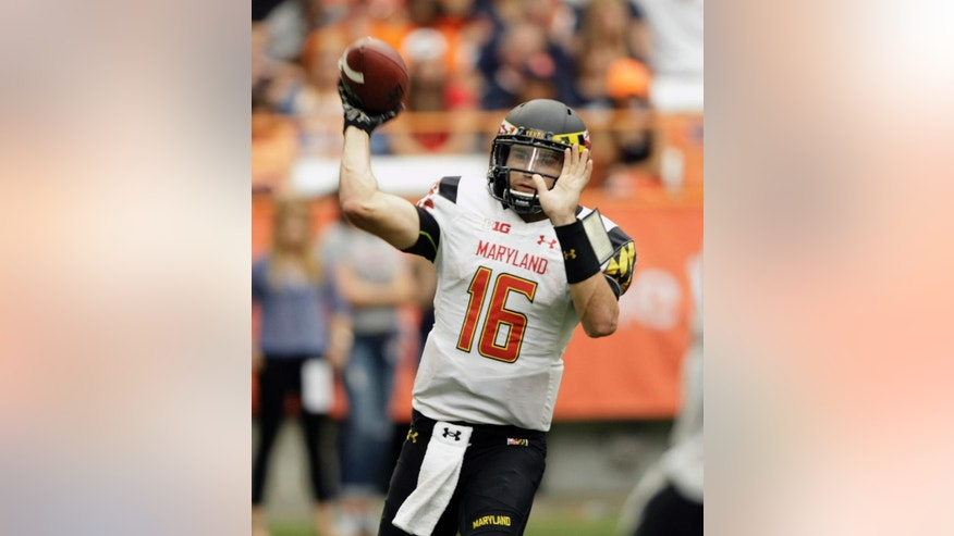 Maryland's C.J. Brown passes in the third quarter of the NCAA college football game against Syracuse at the Carrier Dome in Syracuse, N.Y., Saturday, Sept. 20, 2014. Maryland won 34-20. (AP Photo/Nick Lisi)