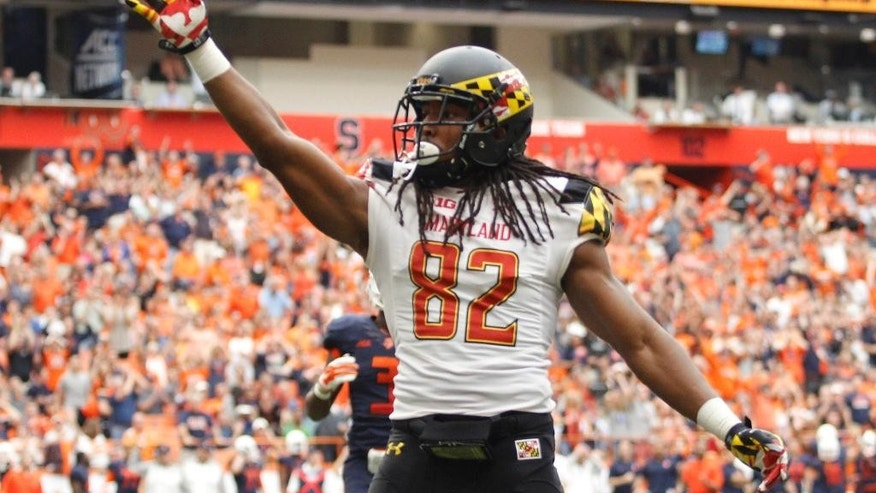 Maryland's Marcus Leak signals for the first down after making a catch in the first half of an NCAA college football game against Syracuse at the Carrier Dome in Syracuse, N.Y., Saturday, Sept. 20, 2014. (AP Photo/Nick Lisi)