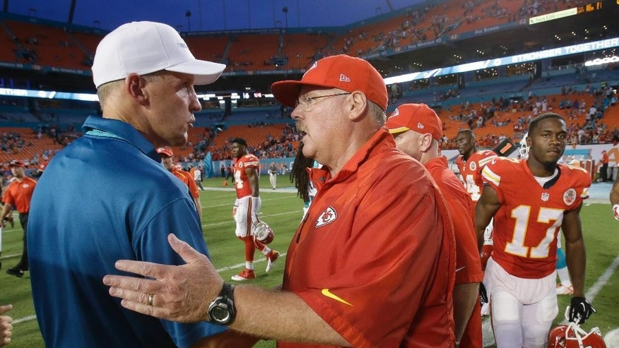 Miami Dolphins coach Joe Philbin, left, and Kansas City Chiefs coach Andy Reid greet one another after the Chiefs defeated the Dolphins 34-15 during an NFL football game, Sunday, Sept. 21, 2014, in Miami Gardens, Fla. (AP Photo/Wilfredo Lee)