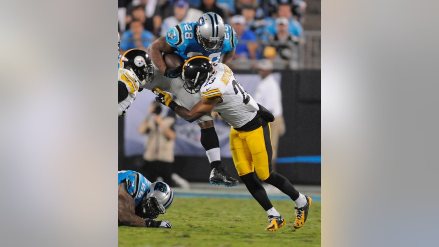 Carolina Panthers' Jonathan Stewart (28) is hit by Pittsburgh Steelers' Mike Mitchell (23) during the first half of an NFL football game in Charlotte, N.C., Sunday, Sept. 21, 2014. (AP Photo/Mike McCarn)