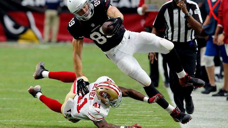 Arizona Cardinals tight end John Carlson (89) is hit out of bounds by San Francisco 49ers strong safety Antoine Bethea (41) during the second half of an NFL football game, Sunday, Sept. 21, 2014, in Glendale, Ariz. (AP Photo/Rick Scuteri)