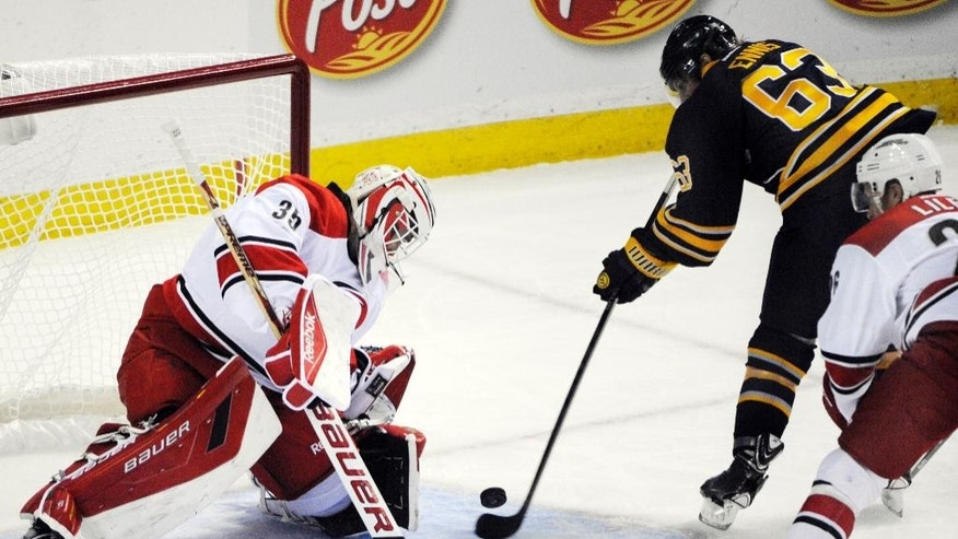 Carolina Hurricanes goaltender Drew Macintyre (35) gets beat for a goal by Buffalo Sabres center Tyler Ennis (63) during the second period of an NHL hockey preseason game, Tuesday, Sept. 23, 2014, in Buffalo, N.Y. (AP Photo/Gary Wiepert)