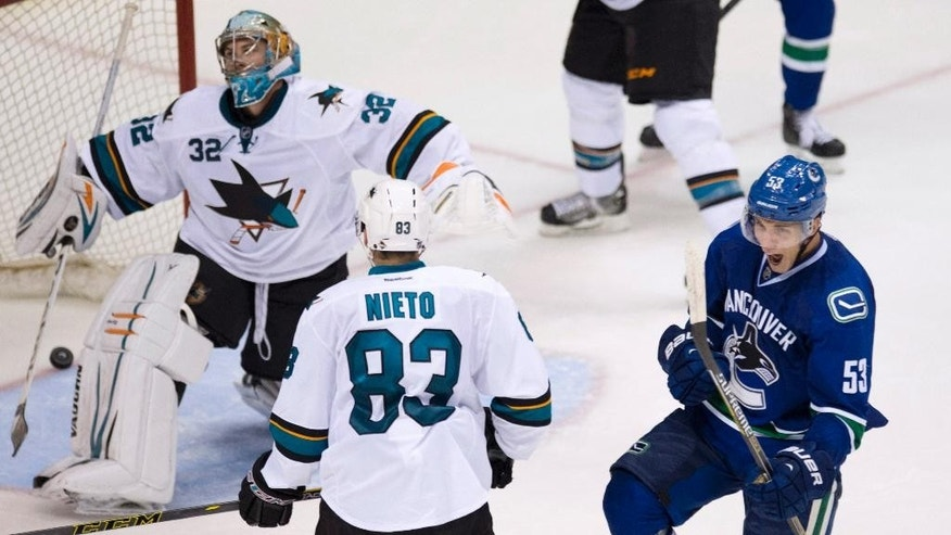 Vancouver Canucks Bo Horvat, right, celebrates his goal past San Jose Sharks goalie Alex Stalock (32) as San Jose Sharks left wing Matt Nieto (83) looks on during the third period of an NHL preseason hockey game in Vancouver, British Columbia, Tuesday, Sept. 23, 2014. (AP Photo/The Canadian Press, Jonathan Hayward)