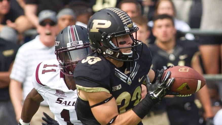 Purdue's Danny Anthrop (33) catches a pass for a long touchdown during an NCAA college football game against Southern Illinois, Saturday, Sept. 20, 2014, in West Lafayette, Ind. Purdue won 35-13. (AP Photo/The Journal & Courier, Michael Heinz ) MANDATORY CREDIT; NO SALES