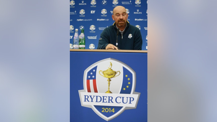 Europe's Thomas Bjorn speaks during a press conference ahead of the Ryder Cup golf tournament at Gleneagles, Scotland, Tuesday, Sept. 23, 2014. (AP Photo/Matt Dunham)