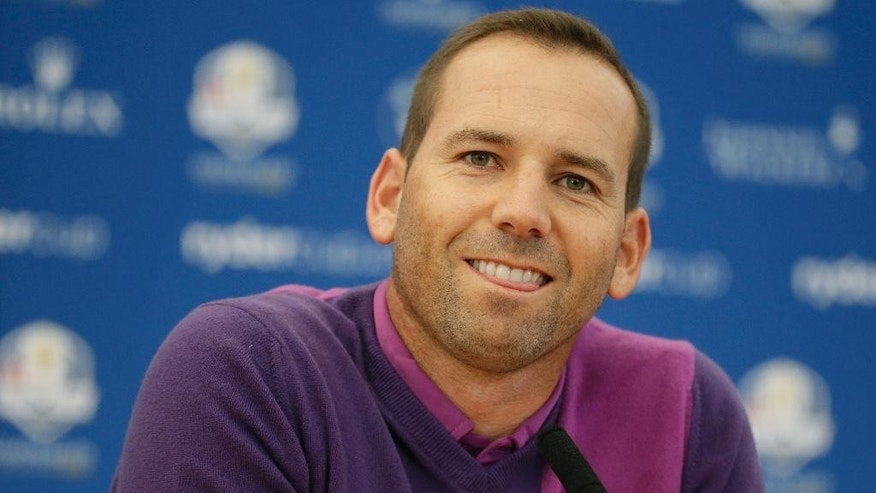 Europe's Sergio Garcia attends a press conference ahead of the Ryder Cup golf tournament at Gleneagles, Scotland, Wednesday, Sept. 24, 2014. (AP Photo/Matt Dunham)