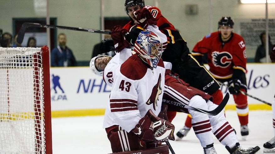 Arizona Coyotes goalie Mike McKenna, center, has teammate Chris Summers, left, checked into him by Calgary Flames Curtis Glencross during the first period of an NHL preseason hockey game in Sylvan Lake, Alberta, Wednesday, Sept. 24, 2014. (AP Photo/The Canadian Press, Jeff McIntosh)