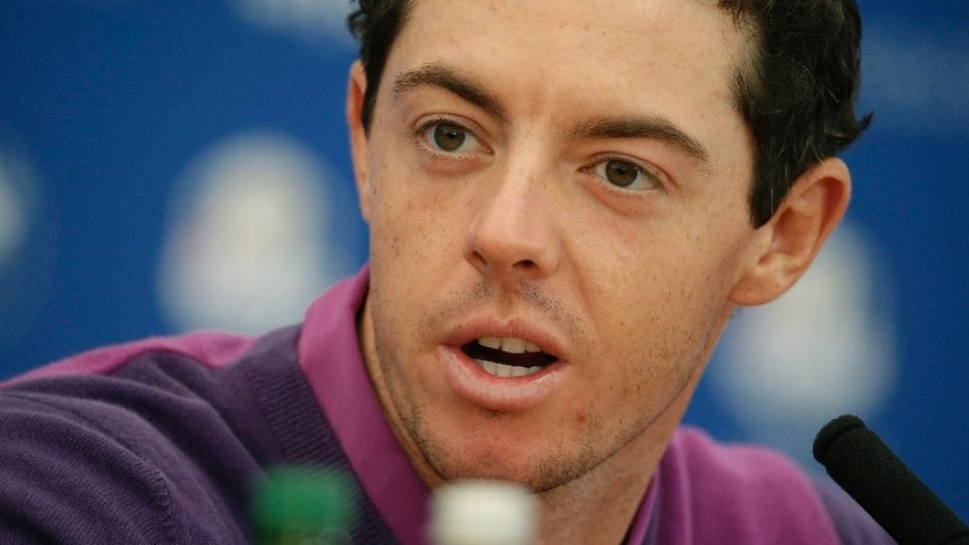 Europe's Rory McIlroy speaks during a press conference ahead of the Ryder Cup golf tournament at Gleneagles, Scotland, Wednesday, Sept. 24, 2014. (AP Photo/Matt Dunham)