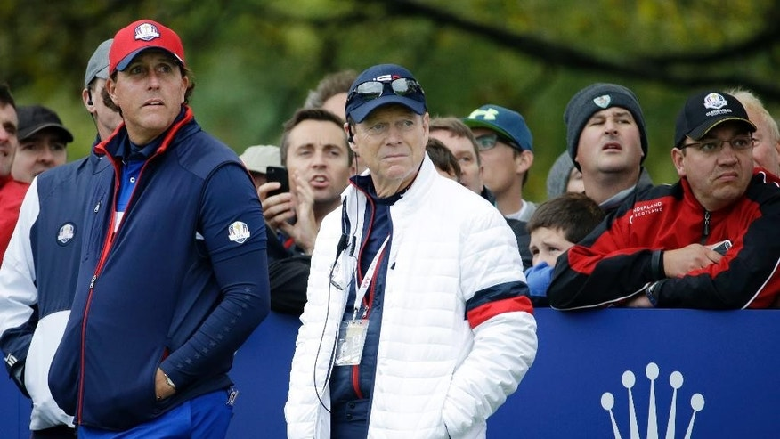 US team captain Tom Watson and Phil Mickelson, left, stand on the 11th tee box during a practice round ahead of the Ryder Cup golf tournament at Gleneagles, Scotland, Thursday, Sept. 25, 2014. (AP Photo/Matt Dunham)