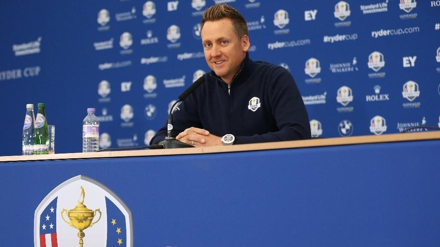 Europe's Ian Poulter attends a press conference ahead of the Ryder Cup golf tournament at Gleneagles, Scotland, Thursday, Sept. 25, 2014. (AP Photo/Peter Morrison)