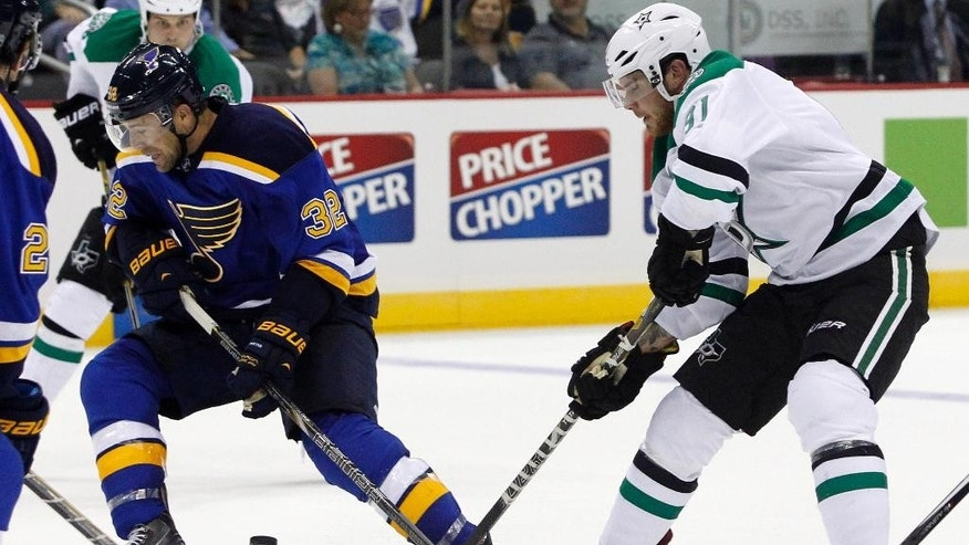 Dallas Stars center Tyler Seguin shoots between the legs of St. Louis Blues left wing Tyler Seguin, left, as he passes off the puck in the second period of a preseason NHL hockey game at the Sprint Center in Kansas City, Mo., Saturday, Sept. 27, 2014. (AP Photo/Colin E. Braley)
