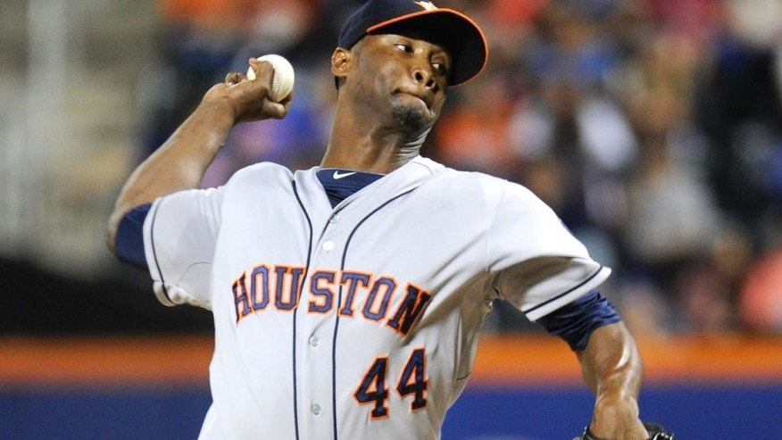 Houston Astros pitcher Samuel Deduno delivers the ball to the New York Mets during the first inning of a baseball game Saturday, Sept. 27, 2014, at Citi Field in New York. (AP Photo/Bill Kostroun)