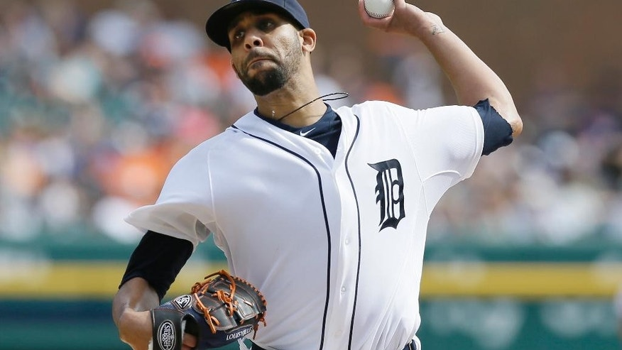 Detroit Tigers starting pitcher David Price throws during the sixth inning of a baseball game against the Minnesota Twins in Detroit, Sunday, Sept. 28, 2014. (AP Photo/Carlos Osorio)