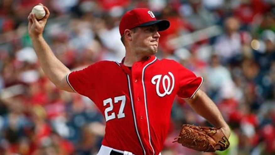 Sept. 28, 2014: Washington Nationals starting pitcher Jordan Zimmermann throws during the third inning of a baseball game against the Miami Marlins at Nationals Park.