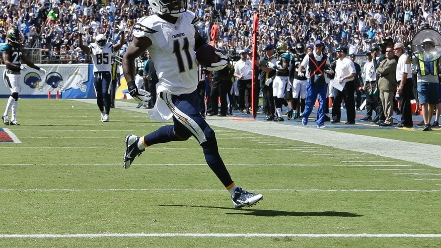 San Diego Chargers wide receiver Eddie Royal coasts into the end zone with a 47-yard touchdown reception against the Jacksonville Jaguars during the first half of an NFL football game Sunday, Sept. 28, 2014, in San Diego.  (AP Photo/Gregory Bull)