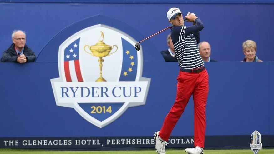 Sept. 28, 2014: Jordan Spieth of the US plays a shot off the 1st tee during the singles match against Europe's Graeme McDowell on the final day of Ryder Cup golf tournament at Gleneagles, Scotland. (AP)