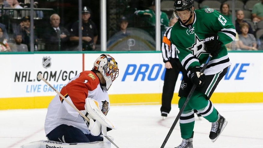 Florida Panthers goalie Roberto Luongo (1) defends against a shot under pressure from Dallas Stars' Ales Hemsky (83) of Czech Republic in the first period of an preseason NHL hockey game, Monday, Sept. 29, 2014, in Dallas. (AP Photo/Tony Gutierrez)