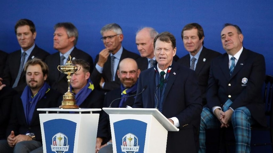US team captain Tom Watson speaks during the presentation ceremony after Europe won the 2014 Ryder Cup golf tournament, at Gleneagles, Scotland, Sunday, Sept. 28, 2014. (AP Photo/Matt Dunham)
