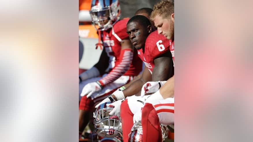 Indiana running back Tevin Coleman (6) sits on the bench late in the second half of an NCAA college football game against Maryland Saturday, Sept. 27, 2014, in Bloomington, Ind. Maryland defeated Indiana 37-15. (AP Photo/Darron Cummings)